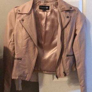 Jackets & Blazers - Faux leather light pink jacket